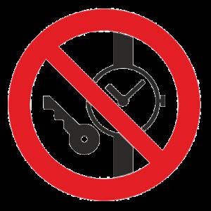 Знак - Запрещается иметь при (на) себе металлические предметы (часы и т.п.) Р-27