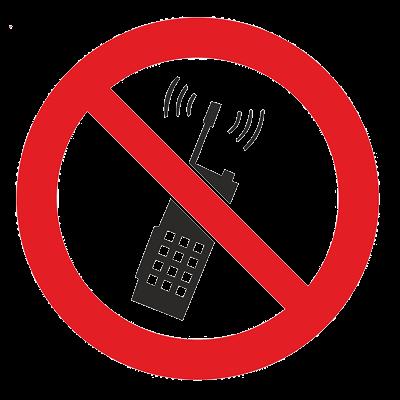 Знак - Запрещается пользоваться мобильным (сотовым) телефоном или переносной рацией Р-18