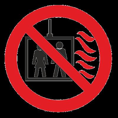 Знак - Пользование лифтом во время пожара запрещено Р-44
