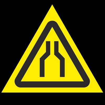Знак - Осторожно. Сужение проезда (прохода) W30